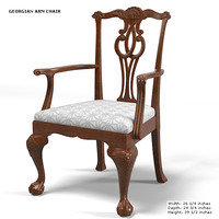 BAKER GEORGIAN ARMCHAIR CHAIR DINING SIDE STOOL CARVING WOOD