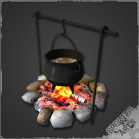3d model seasoned cauldron campfire
