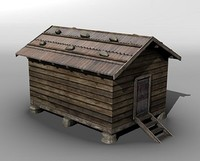 3d model mountain barn