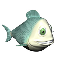 fish cartoon character rigged 3ds