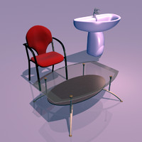 3ds max furnitures coffee table chair