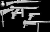 3d lot 7 weapons model
