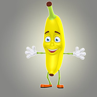 cool cartoon banana 3d max