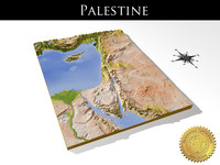Palestine, High resolution 3D relief map