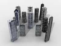 3d model 14 skyscrapers
