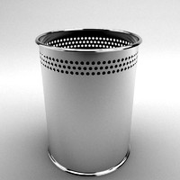 Chrome Trash Bin vray materials