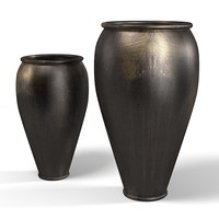 oriental african big drum vase jug black accent
