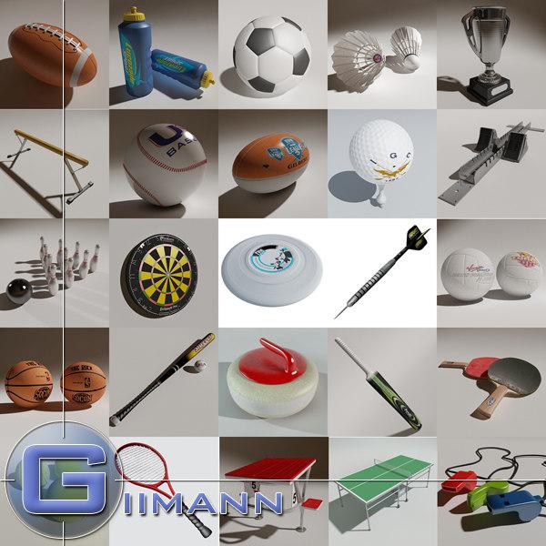 sports equipment 3d 3ds