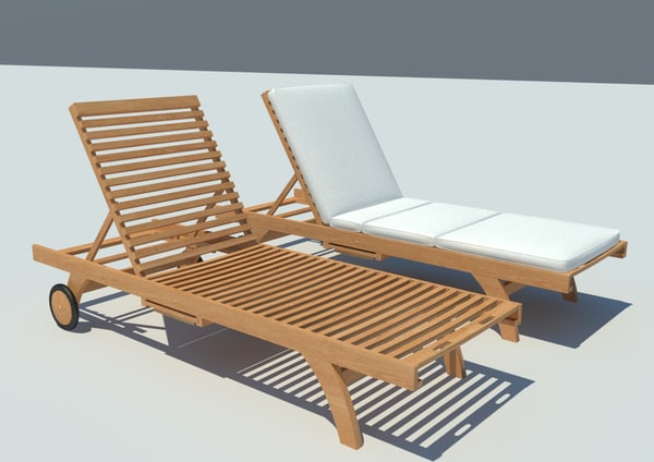 wooden loungers 3d model. Black Bedroom Furniture Sets. Home Design Ideas