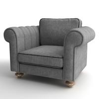 3d model armchair details