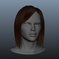 3d ma brown styled female hair