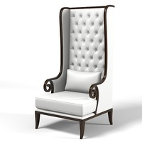 high tall porters wing chair  tufted buttoned modern contemporary  accent