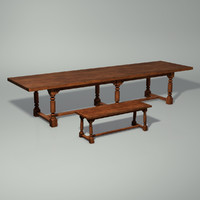 medieval table bench 3d model