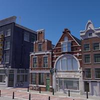 3d model scene street amsterdam