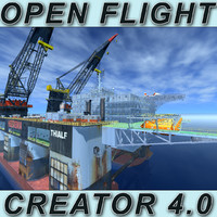 dual crane vessel open flight 3d model