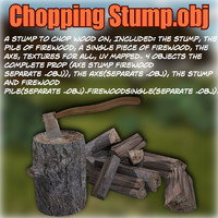 3d model stump chop