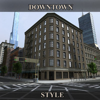 3d downtown buildings model