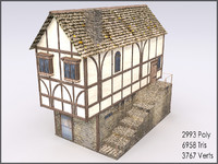 Medieval Building II, Low Poly, Textured