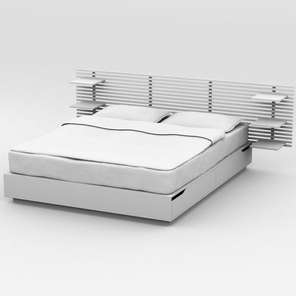 3d model bed ikea mandal