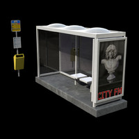 busstop netherlands 3d model
