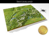 Switzerland, High resolution 3D relief maps