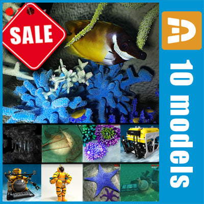 3ds max sea underwater fishes - Sea bottom expedition collection by 3DRivers... by 3DRivers