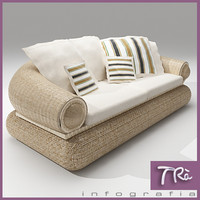 3d model terrace sofa wicker