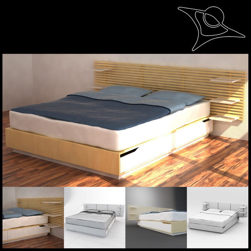 Ikea Aspelund Table De Chevet ~ 3d model bed ikea mandal