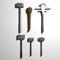 Medieval Axes & Clubs (low poly)