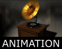 3d animation gramophone model