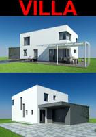 villa garden pool 3d model