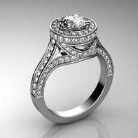 3d engagement ring white gold model