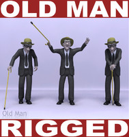 3d old man rigging model