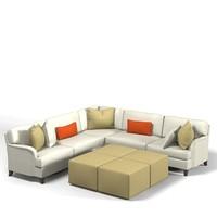 traditional corner sofa 3d 3ds