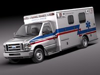 e-series e-450 ambulance van 3d model