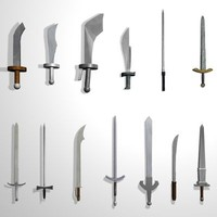 3d model of set medieval swords