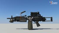 minimi machine gun 3d ma