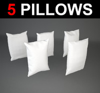 3d model of 5 rectangular pillows