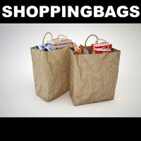 paper shopping bags groceries 3d max