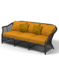 wicker sofa outdoor 3d model