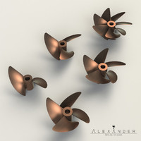 3d set propellers boats