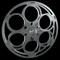3d model of classic film reel movie