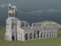 ruined cistercian abbey 3d fbx