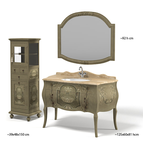 mobili di castello classic bathroom furniture vanitie  cabinet mirror chest of drawers tap faucet thg painted.jpg