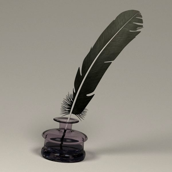 quill pot 3dsQuill And Inkwell