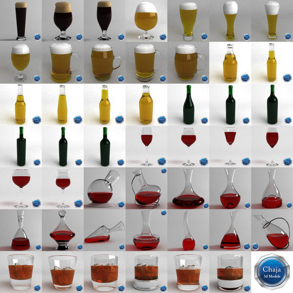 cups bottles whiskey glass max - Collection Of Glasses And Bottles... by chaja