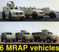 6 mine resistant vehicles