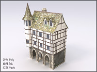 Medieval Building V, Low Poly, Textured