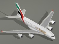 3d airbus a380-800 emirates airlines