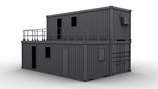 Container construction building 3d max for Architecture et construction 3d